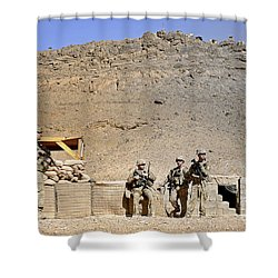 Soldiers Wait For Afghan National Shower Curtain by Stocktrek Images