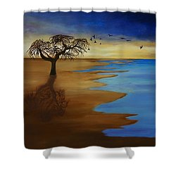 Shower Curtain featuring the painting Solitude by Michelle Joseph-Long