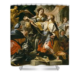 Solomon Worshiping The Pagan Gods Shower Curtain by Domenico Antonio Vaccaro