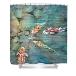 Something Fishy Shower Curtain by Mohamed Hirji