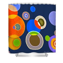 Shower Curtain featuring the mixed media Somewhere Out There by Beth Saffer