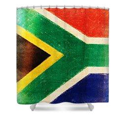 South Africa Flag Shower Curtain by Setsiri Silapasuwanchai