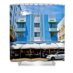 South Beach The Blue Section Shower Curtain by Eric Tressler