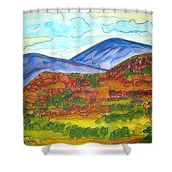 South Mesa Dark Shower Curtain