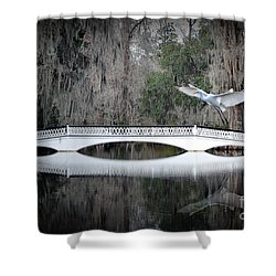 Shower Curtain featuring the photograph Southern Plantation Flying Egret by Dan Friend