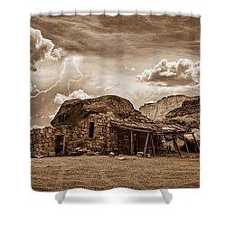 Southwest Indian Rock House And Lightning Striking Shower Curtain by James BO  Insogna