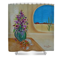 Shower Curtain featuring the painting Southwestern 3 by Judith Rhue