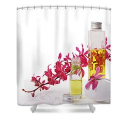 Spa Set With Copy Space Shower Curtain by Atiketta Sangasaeng