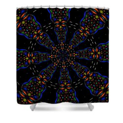 Shower Curtain featuring the digital art Space Flower by Alec Drake