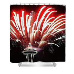 Space Needle Fireworks Shower Curtain by Benjamin Yeager