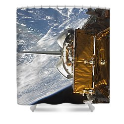 Space Shuttle Atlantis Payload Bay Shower Curtain by Stocktrek Images