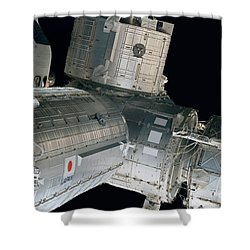 Space Shuttle Discovery And Components Shower Curtain by Stocktrek Images