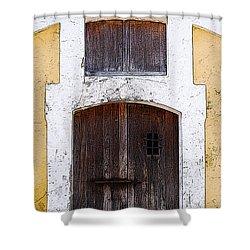 Spanish Fort Door Castillo San Felipe Del Morro San Juan Puerto Rico Prints Poster Edges Shower Curtain by Shawn O'Brien