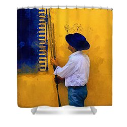 Spanish Man At The Yellow Wall. Impressionism Shower Curtain
