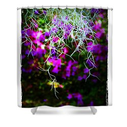 Shower Curtain featuring the photograph Spanish Moss And Azaleas by Judi Bagwell