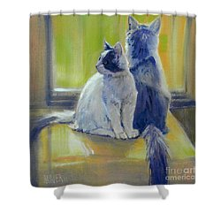 Shower Curtain featuring the painting Spanky And Booboo by Donald Maier