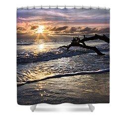Sparkly Water At Driftwood Beach Shower Curtain by Debra and Dave Vanderlaan