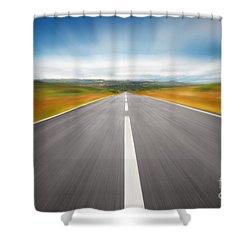 Speedyway Shower Curtain by Carlos Caetano
