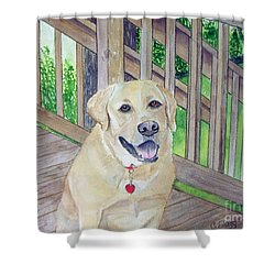 Shower Curtain featuring the painting Spencer On Porch by Carol Flagg