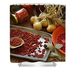 Spicy Still Life Shower Curtain by Carlos Caetano