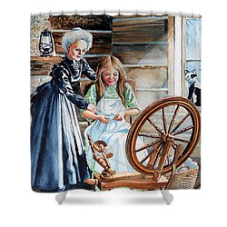 Spinning Wheel Lessons Shower Curtain by Hanne Lore Koehler