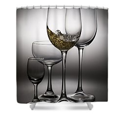 Splashing Wine In Wine Glasses Shower Curtain by Setsiri Silapasuwanchai