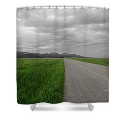 Split Line Shower Curtain by Roderick Bley