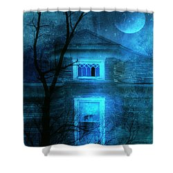 Spooky House With Moon Shower Curtain by Jill Battaglia