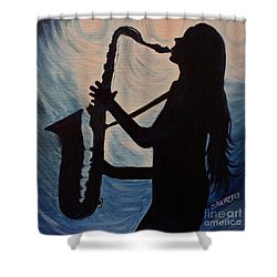 Spotlight On The Blues Shower Curtain by Julie Brugh Riffey