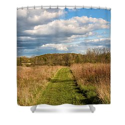 Spring's Mowed Path Shower Curtain by Rachel Cohen