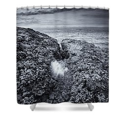 Squeezing Through Every Crack Shower Curtain by Mike  Dawson