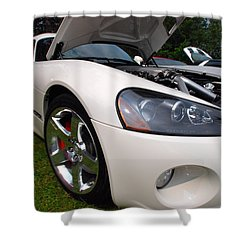 Shower Curtain featuring the pyrography Ssss 2009 Dodge Viper by John Schneider