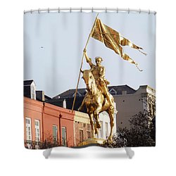 Shower Curtain featuring the photograph St. Joan At Dawn by Alys Caviness-Gober
