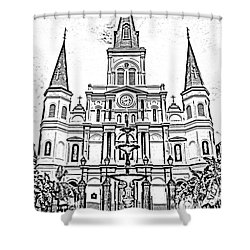 St Louis Cathedral And Fountain Jackson Square French Quarter New Orleans Photocopy Digital Art Shower Curtain by Shawn O'Brien
