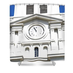 St Louis Cathedral Clock Jackson Square French Quarter New Orleans Diffuse Glow Digital Art Shower Curtain by Shawn O'Brien