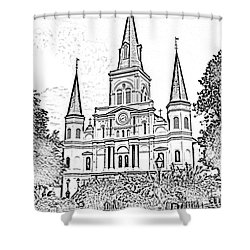 St Louis Cathedral Jackson Square French Quarter New Orleans Photocopy Digital Shower Curtain by Shawn O'Brien