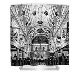 St. Louis Cathedral Monochrome Shower Curtain by Steve Harrington