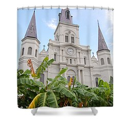St Louis Cathedral Rising Above Palms Jackson Square French Quarter New Orleans Print  Shower Curtain by Shawn O'Brien