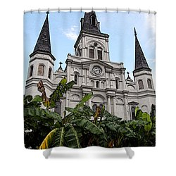 St Louis Cathedral Rising Above Palms Jackson Square New Orleans Fresco Digital Art Shower Curtain by Shawn O'Brien