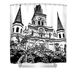 St Louis Cathedral Rising Above Palms Jackson Square New Orleans Stamp Digital Art Shower Curtain by Shawn O'Brien