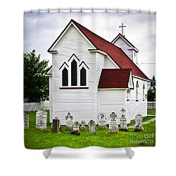 St. Luke's Church And Cemetery In Placentia Shower Curtain by Elena Elisseeva