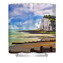 St. Margaret's Bay At Dover Shower Curtain by Dominic Piperata