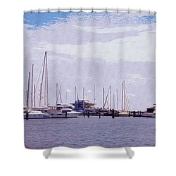 St. Petersburg Marina Shower Curtain by Bill Cannon