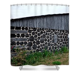 Shower Curtain featuring the photograph Stacked Block Barn by Barbara McMahon