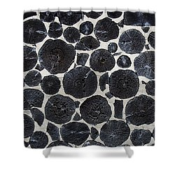 Shower Curtain featuring the photograph Stacked Log Wall by Barbara McMahon