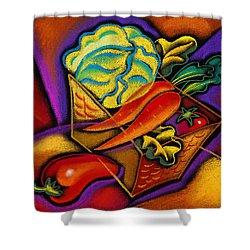 Staff For Yummy Salad Shower Curtain by Leon Zernitsky
