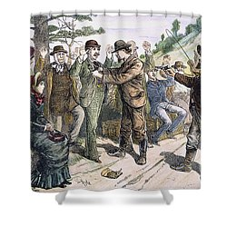 Stagecoach Robbery, 1880s Shower Curtain by Granger