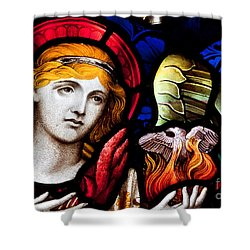 Stained Glass Angel Shower Curtain by Verena Matthew