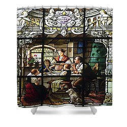 Stained Glass Family Giving Thanks Shower Curtain by Sally Weigand