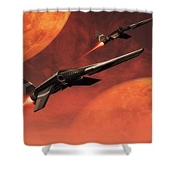 Star Fighters On A Routine Space Patrol Shower Curtain by Mark Stevenson